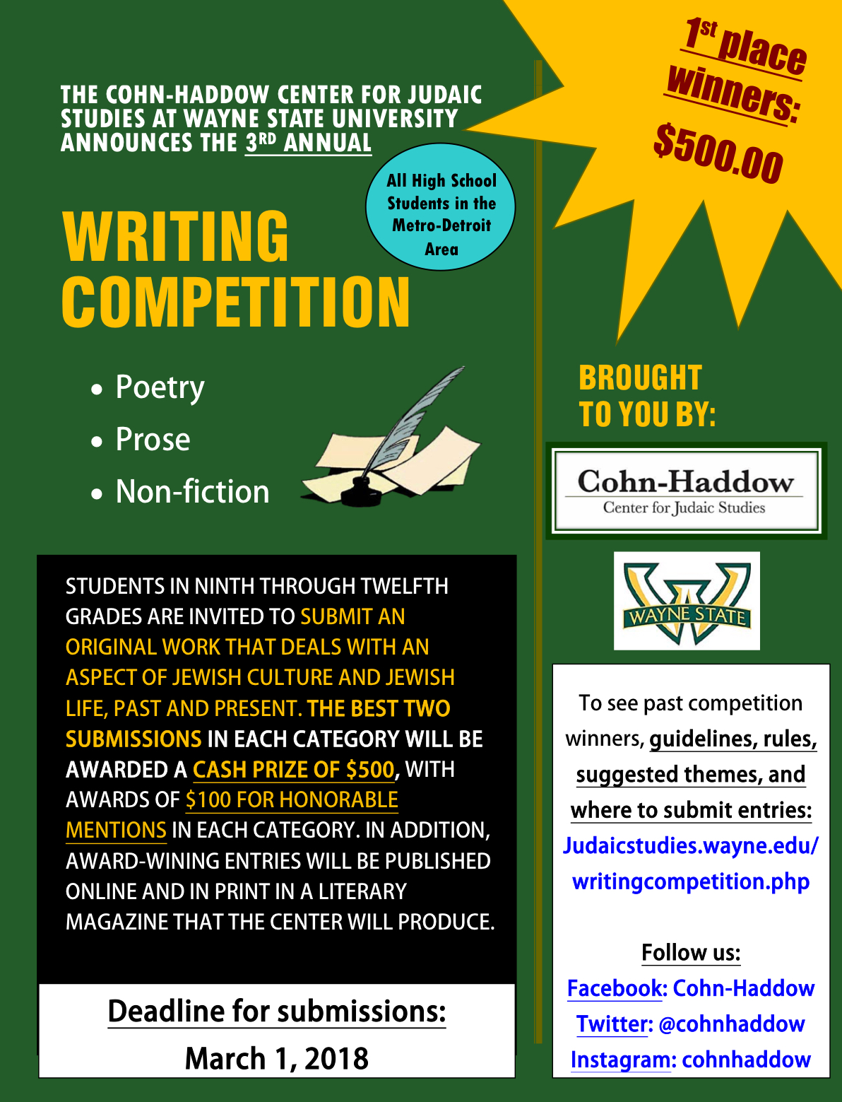 Writing competitions for high school students Research paper Writing